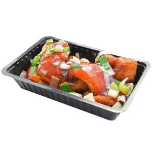 Kibbeling met sesamsaus en groente